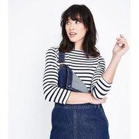 Blue Stripe Organic Cotton Mix 3/4 Sleeve T-Shirt New Look
