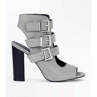 Wide Fit Grey Suedette Stud Buckle Strap Block Heels New Look