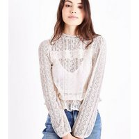 Off White Lace Frill Hem Blouse New Look