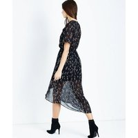 Black Floral Chiffon Dip Hem Midi Dress New Look