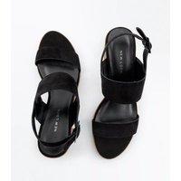 Black Suede Low Block Heel Sandals New Look