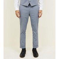 Grey Herringbone Skinny Cropped Suit Trousers New Look