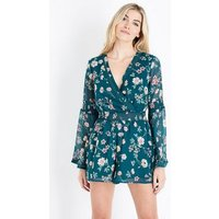 Green Floral Print Chiffon Long Sleeve Playsuit New Look