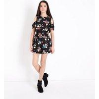 Teens Black Floral Print Cold Shoulder Playsuit New Look