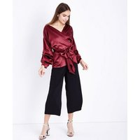 Cameo Rose Burgundy Ruched Sleeve Wrap Top New Look