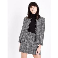 Grey Boucle Check Fray Edge Jacket New Look