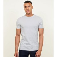 Pale Grey Short Sleeve Muscle Fit T-Shirt New Look