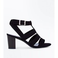Teens Black Suedette Heeled Gladiator Sandals New Look