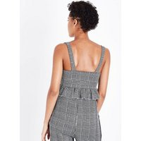 Cameo Rose Grey Check Frill Hem Crop Top New Look