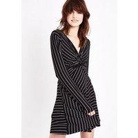 Black Stripe Twist Front Long Sleeve Dress New Look