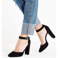 Black Suedette Round Toe Block Heel Courts New Look