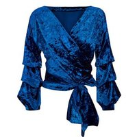 Cameo Rose Navy Velvet Ruched Sleeve Top New Look