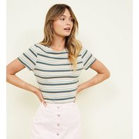 Multi Coloured Stripe Ribbed T-Shirt New Look