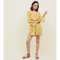 Yellow Floral Bardot Playsuit New Look