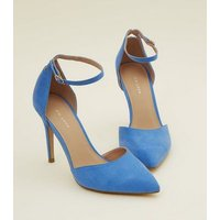 Blue Suedette Ankle Strap Pointed Courts New Look