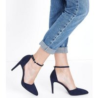 Navy Suedette Ankle Strap Pointed Courts New Look