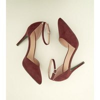Dark Red Suedette Ankle Strap Pointed Courts New Look