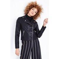 Black Leather-Look Biker Jacket New Look
