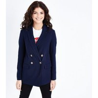 Navy Double Breasted Blazer New Look