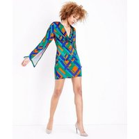 Mela-Green-Geometric-Contrast-Print-Jersey-Dress-New-Look