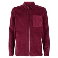 Burgundy Zip Through Cord Shacket New Look