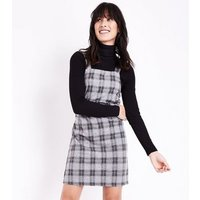 Light Grey Check Jersey Pinafore Dress New Look