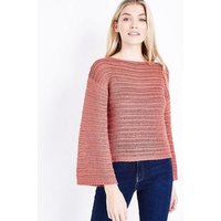 Coral Flare Sleeve Stripe Knit Jumper New Look