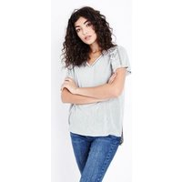 Pale Grey Tassel Trim Fine Knit T-Shirt New Look