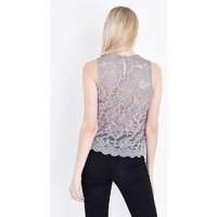 Grey Floral Lace Sleeveless Top New Look