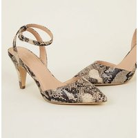 Black Faux Snakeskin Pointed Cone Heel Courts New Look
