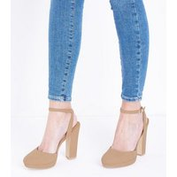 Nude Suedette Two Part Platform Courts New Look