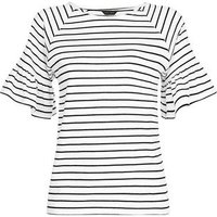 White Stripe Frill Sleeve T-Shirt New Look