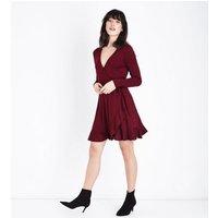 Burgundy Frill Trim Jersey Wrap Dress New Look