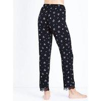 Black Ditsy Floral Print Pyjama Trousers New Look