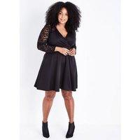 Mela Curves Black Lace Sleeve Wrap Front Dress New Look