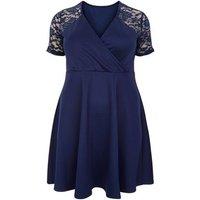 Mela Curves Navy Satin Lace Sleeve Dress New Look