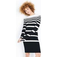 Black Ribbed Graduated Stripe Jumper Dress New Look