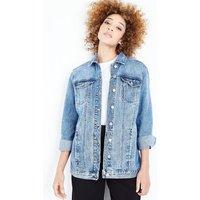 Blue Stone Wash Longline Denim Jacket New Look