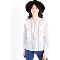 White Tassel Front Broderie Blouse New Look