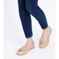 Wide Fit Nude Patent Tassel Loafers New Look