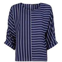 Blue Contrast Stripe Top New Look