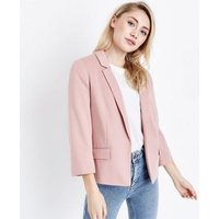 Petite Pale Pink Cropped Blazer New Look