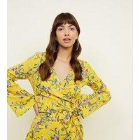 Blue Vanilla Mustard Floral Print Wrap Top New Look