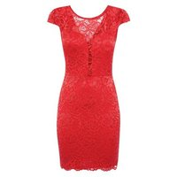 Cameo Rose Red Lace Bustier Bodycon Dress New Look