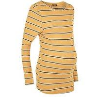 Maternity Mustard Yellow Stripe T-Shirt New Look