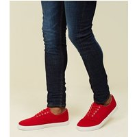Red Lace Up Plimsolls New Look