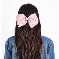 Pink Diamante Embellished Oversized Hair Bow New Look