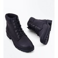 Teens Black Contrast Cuff Lace Up Hiker Boots New Look
