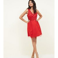 Mela Red Lace and Mesh Skater Dress New Look