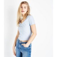 Pale Blue Ribbed Ruched Front Frill Edge T-Shirt New Look